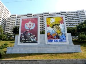 Propaganda posters are spread around the cities.